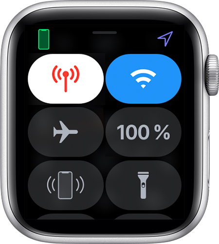 Kontrolcenter på Apple Watch.