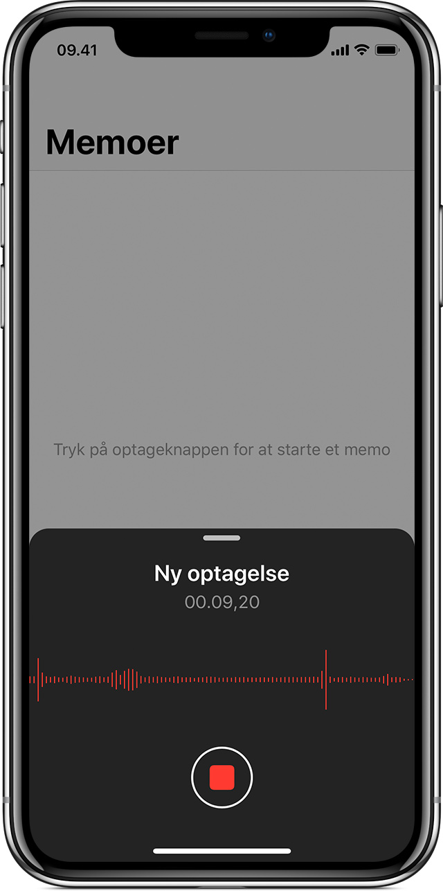 et memo optages på iPhone