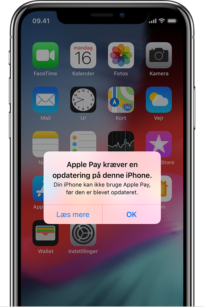 Apple Pay skal opdateres