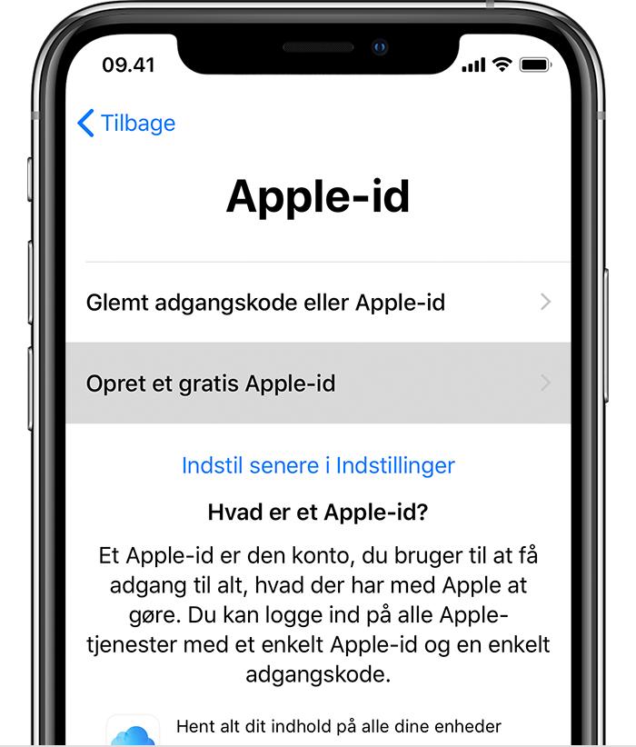 opret nyt apple id på ipad
