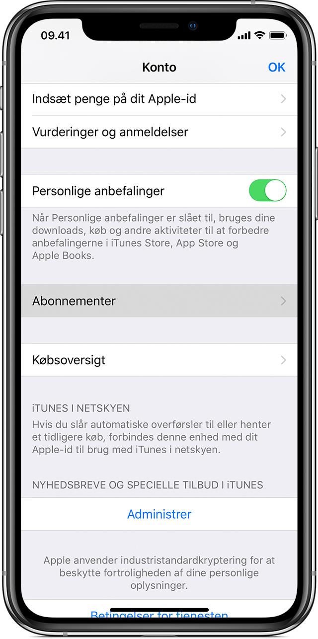 En iPhoneX, der viser skærmen Kontoindstillinger. Knappen Abonnementer er fremhævet.