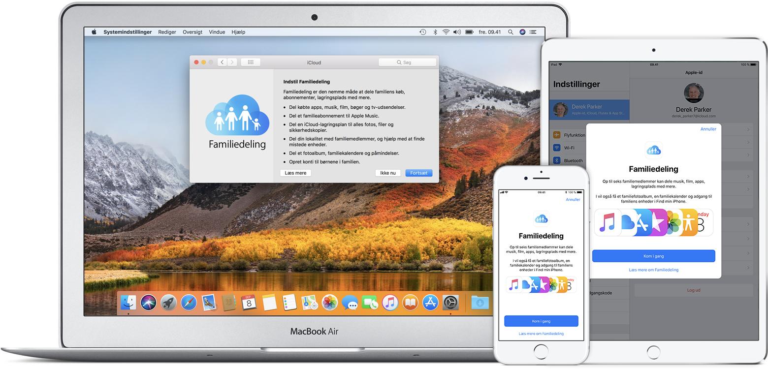 indstilling af familiedeling apple support