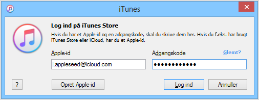 login på windows iTunes