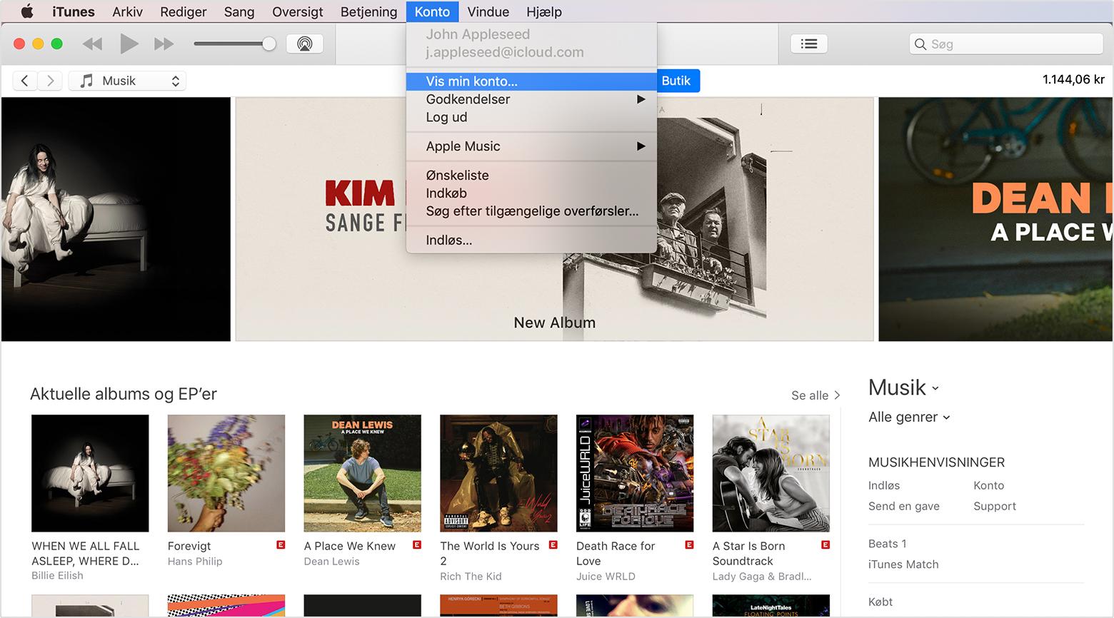 11cefe15 Et iTunes-vindue med menuen Konto åbnet foran den. Vis min konto er valgt