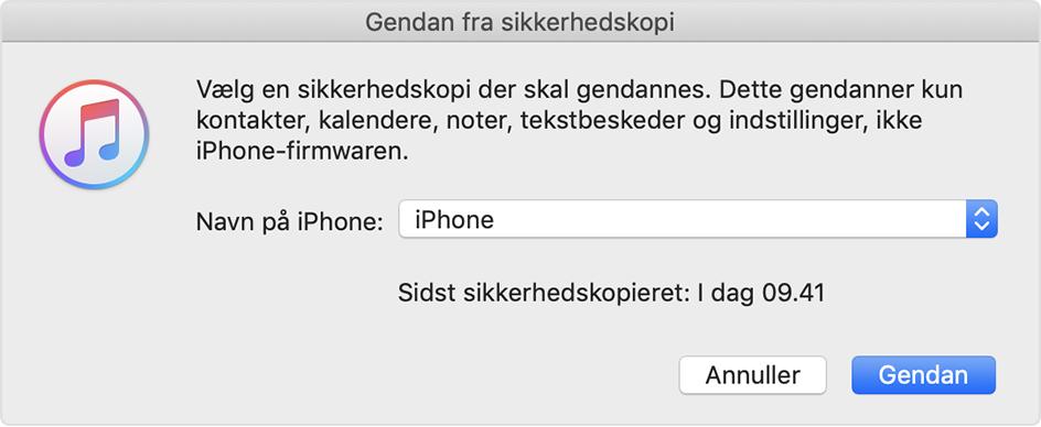 gendan kontakter iphone