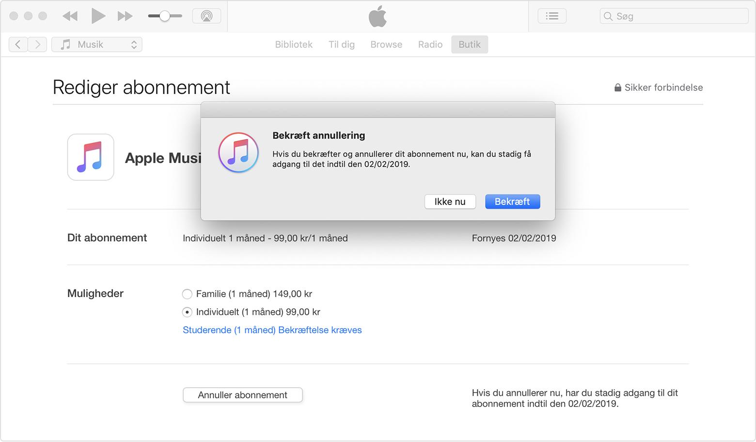 apple music opsigelse