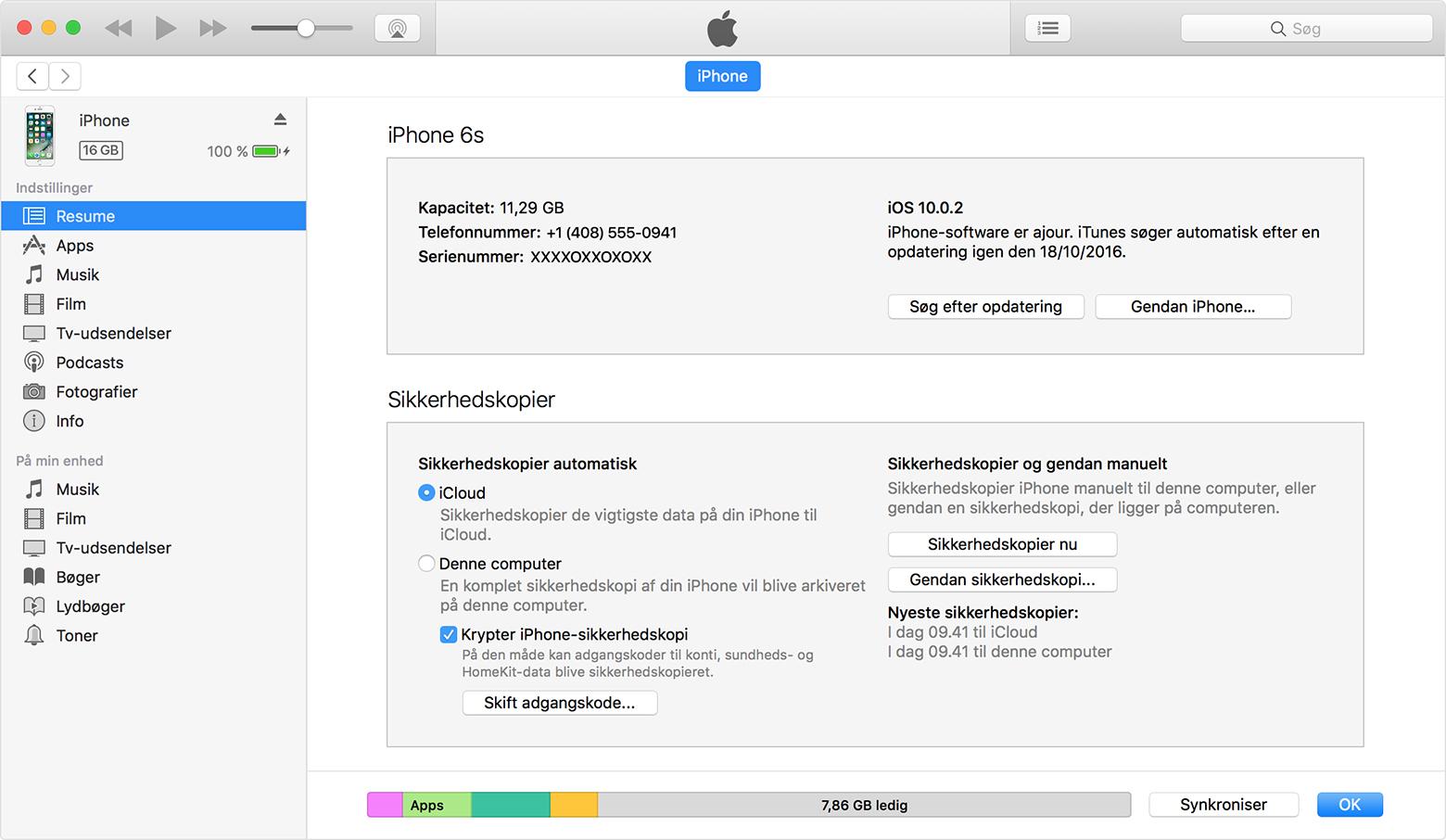 Sikkerhedskopiering af iPhone, iPad eller iPod touch ...