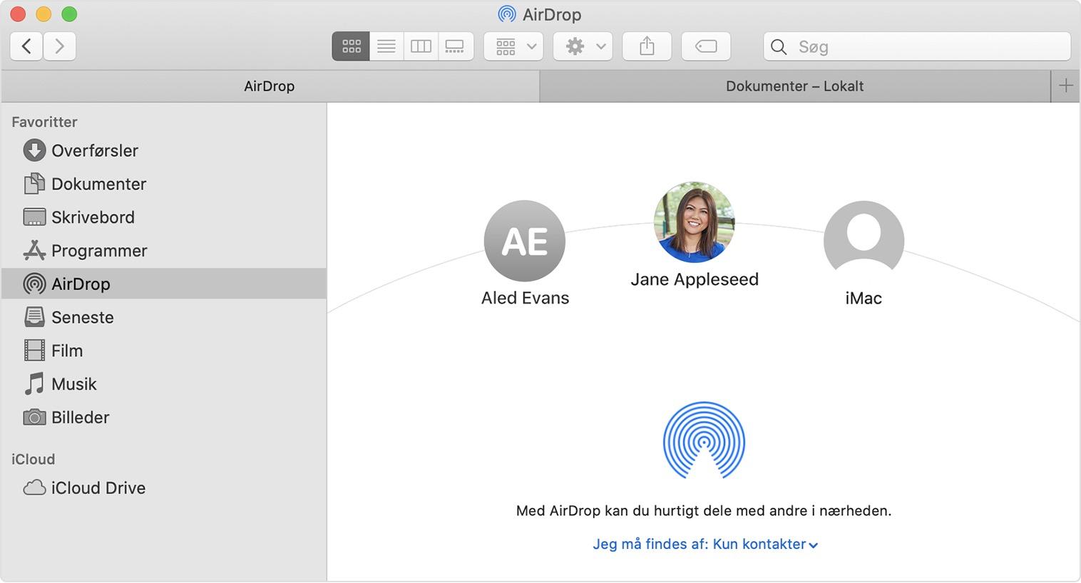 Brug Af Airdrop Pa Din Mac Apple Support