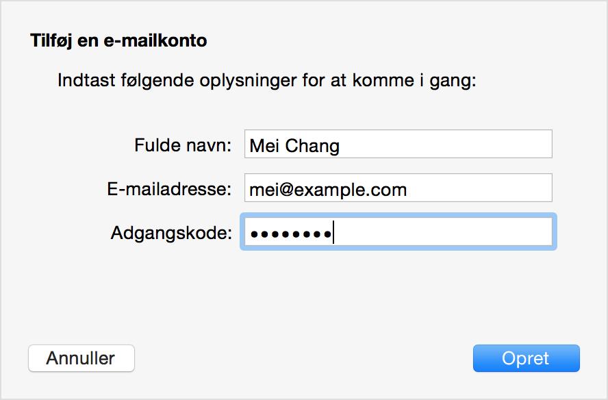 opret mail på iphone