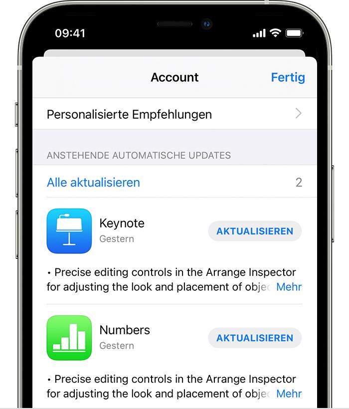 iPhone mit verfügbaren Updates für die AppleStore-App und die Shazam-App.