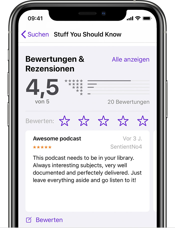 Das iPhone zeigt in der Apple Podcasts-App den Abschnitt