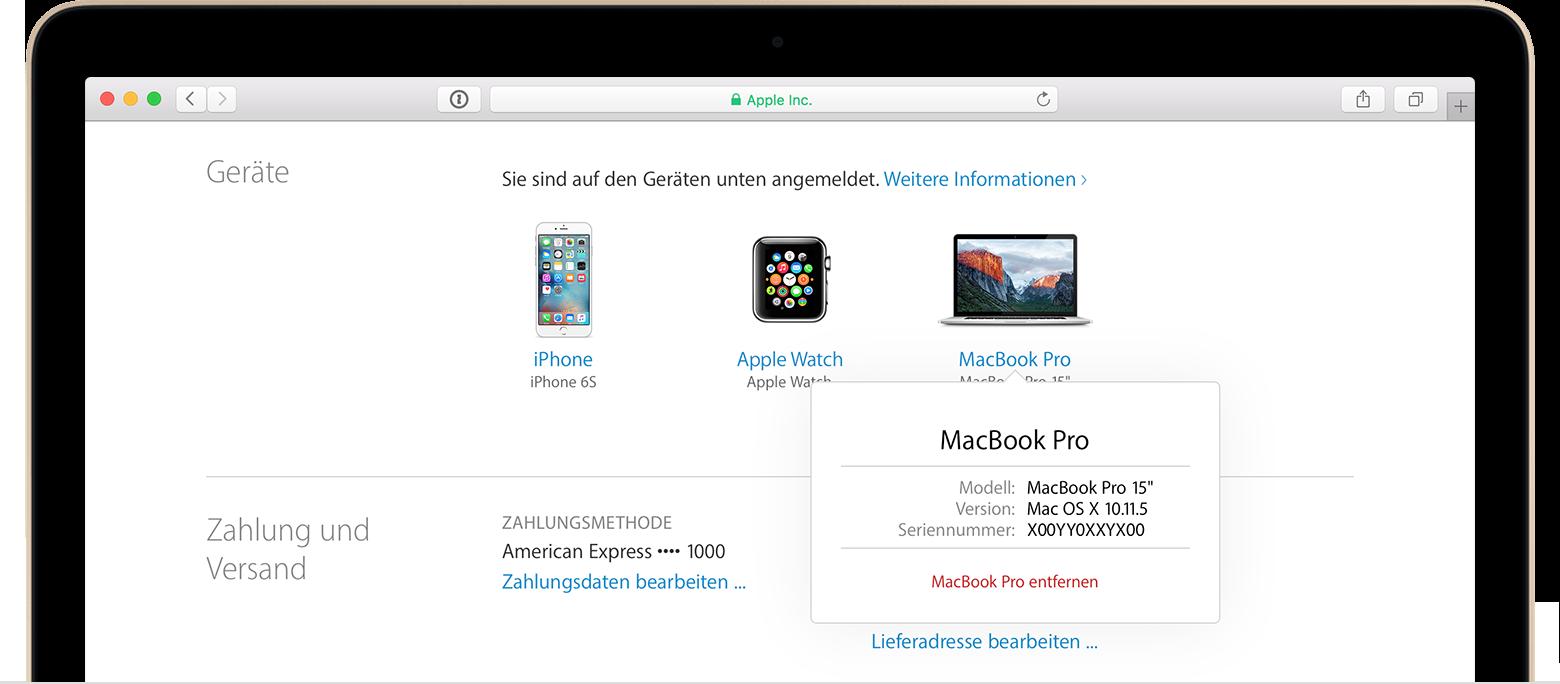 In der Apple-ID-Geräteliste nachsehen, auf welchen Geräten ...