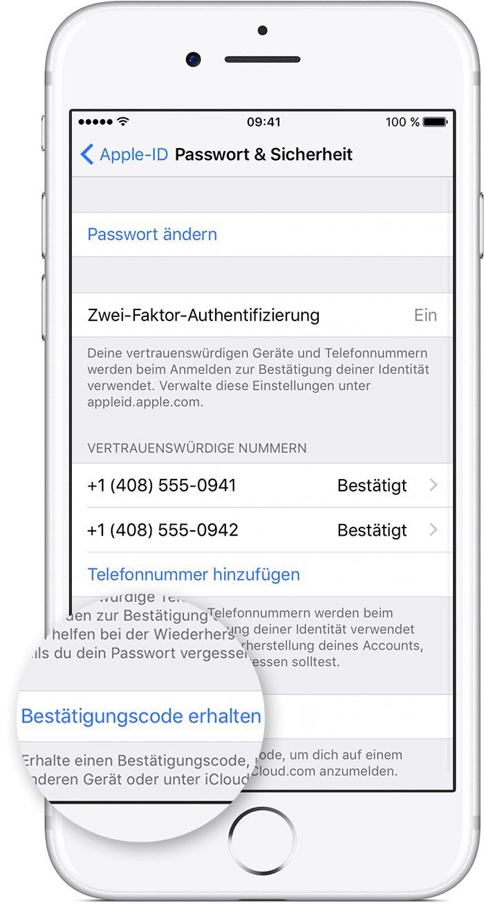 bestätigungscode apple id