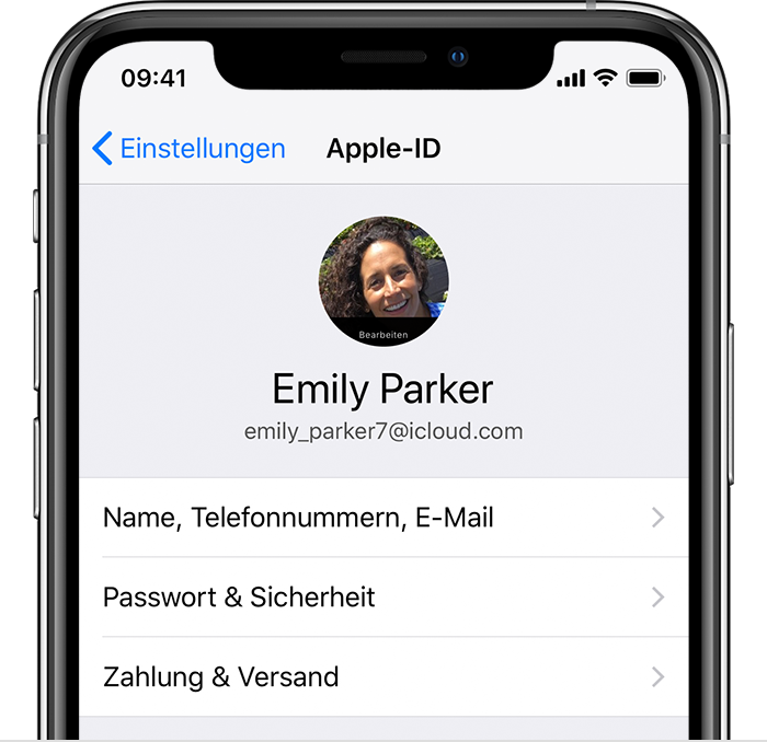 Bildschirm 'Apple-ID' in den iPhone-Einstellungen