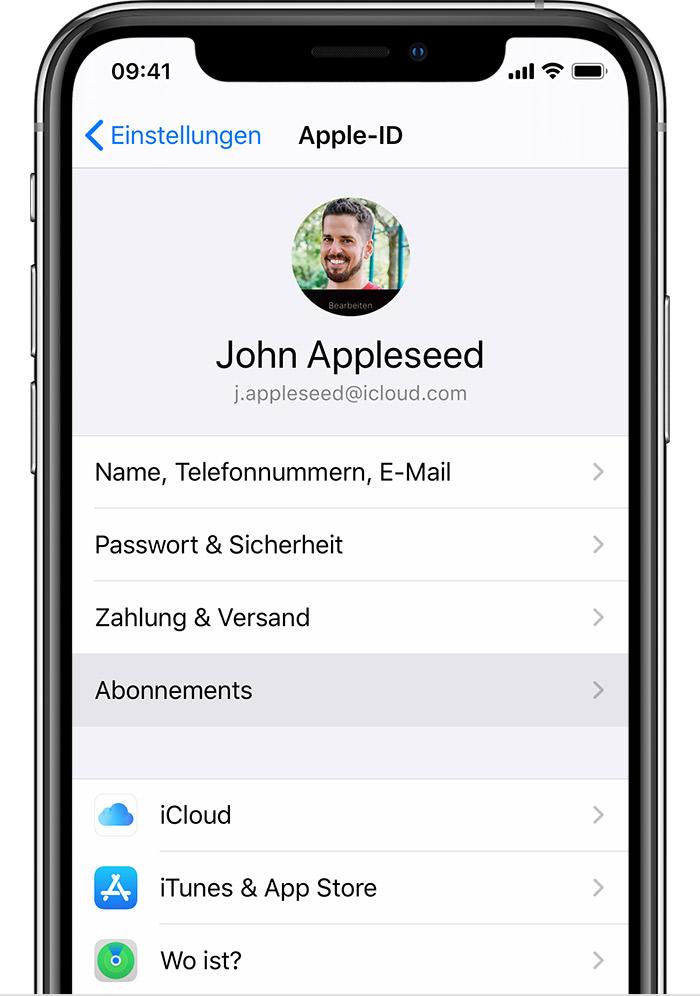 """iPhone mit der Anzeige, wo du """"Abonnements"""" in den Einstellungen findest."""