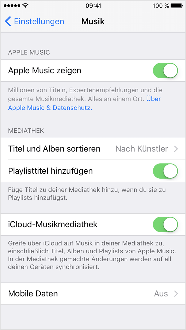 icloud musikmediathek