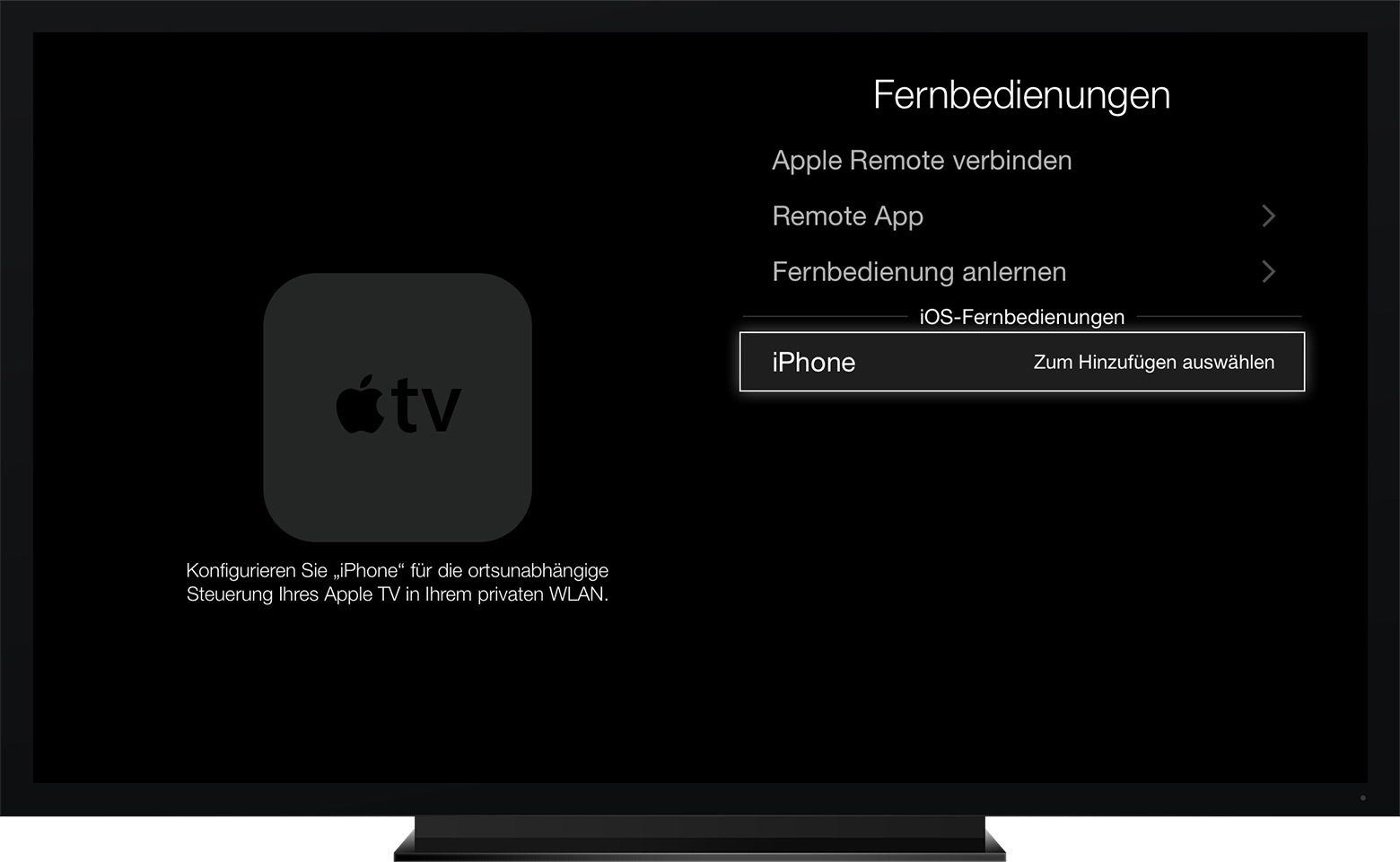 die app apple tv remote einrichten apple support. Black Bedroom Furniture Sets. Home Design Ideas