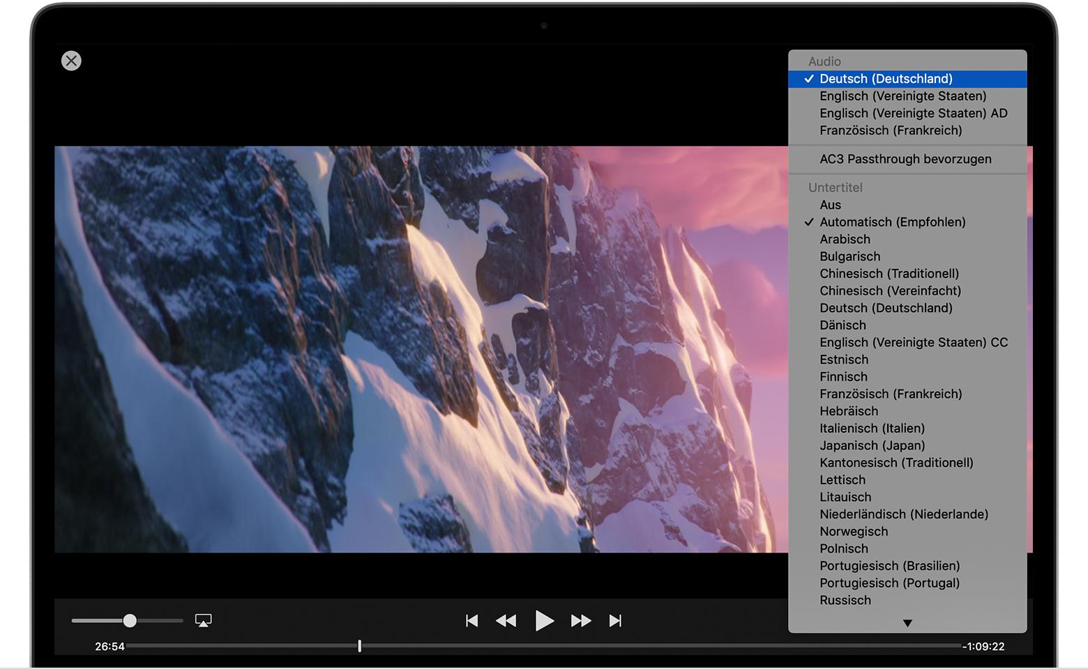 Untertitel oder Audiosprache von Filmen und TV-Sendungen ...