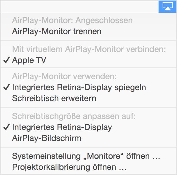 Airplay bildschirm sync zwischen mac und hdtv verwenden for Schreibtisch yosemite