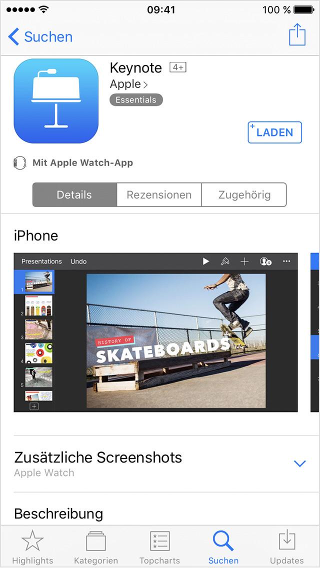 unterst tzung erhalten beim suchen installieren und verwenden von apps auf der apple watch. Black Bedroom Furniture Sets. Home Design Ideas