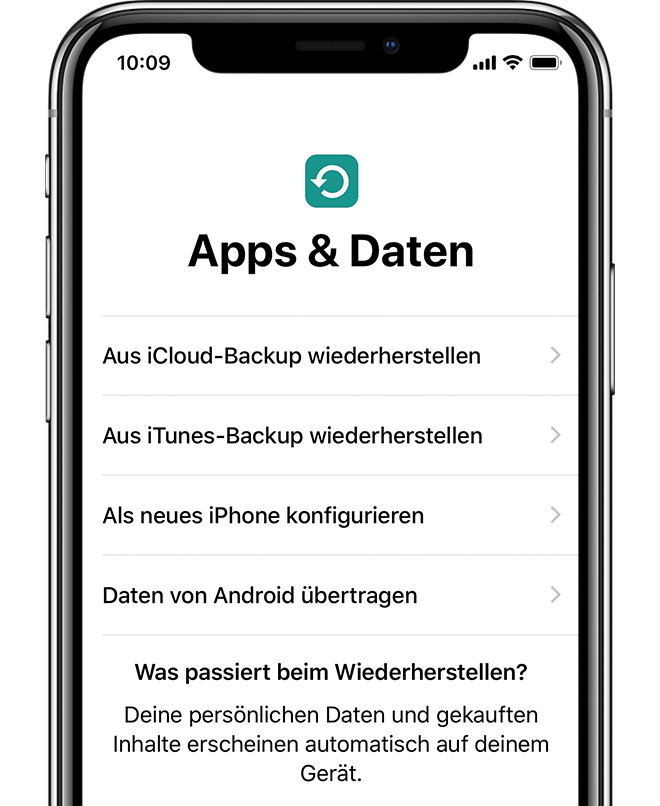 "Option ""Apps & Daten"" auf dem iPhone X."
