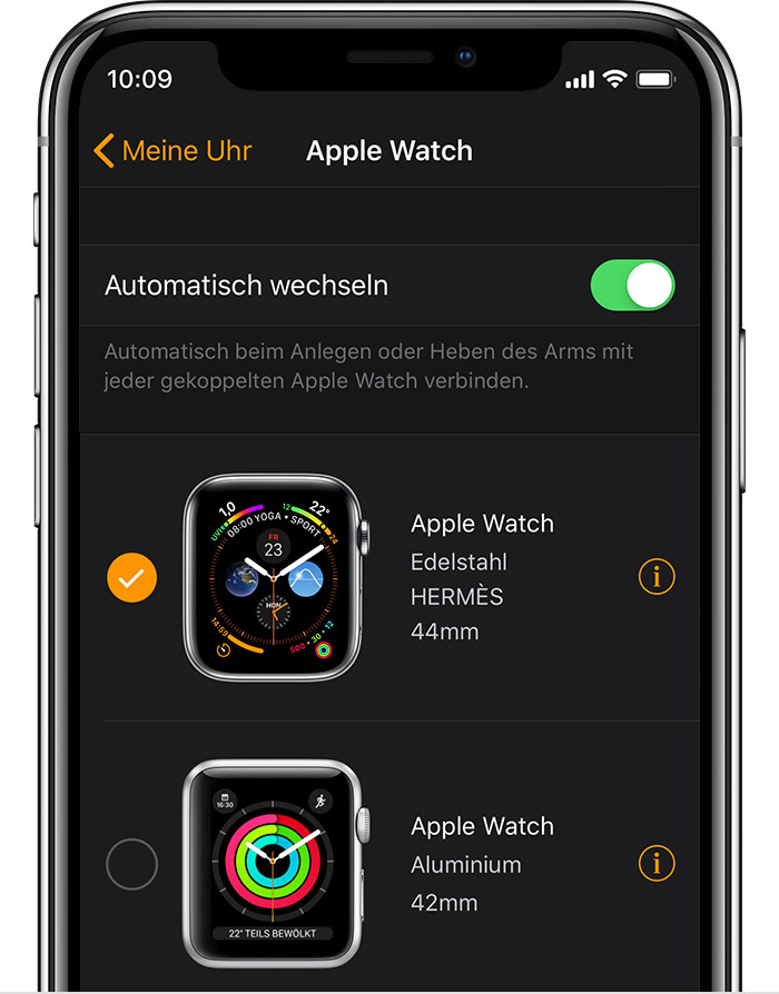 Johns Apple Watch (42 mm, Aluminium) in der Watch-App.