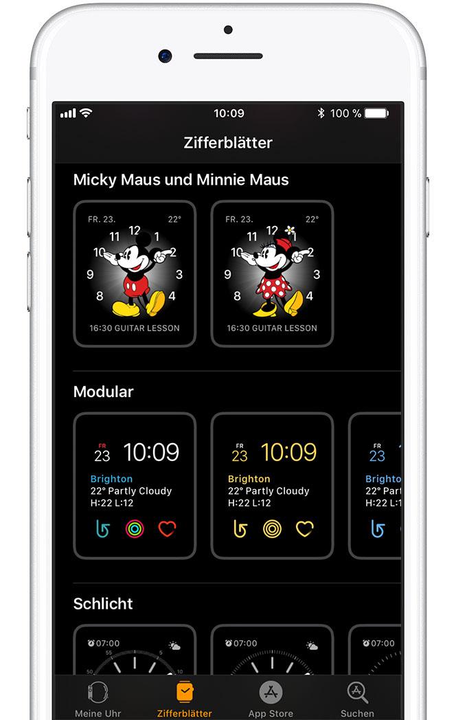 Zeit von Micky Maus oder Minnie Maus ansagen lassen  Apple Support