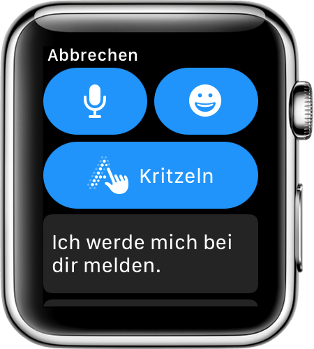 Apple Watch-Bildschirm mit Antwortoptionen