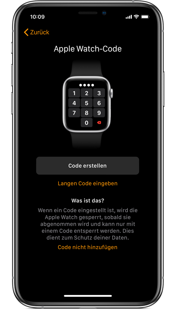 "Bildschirm ""Apple Watch-Code"" auf dem iPhone."