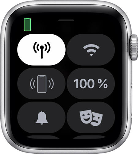 Kontrollzentrum auf der Apple Watch.