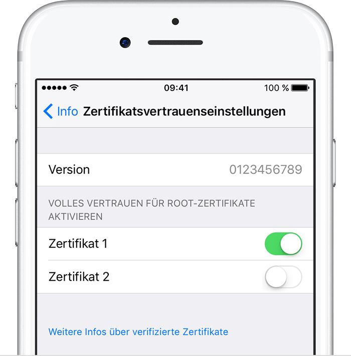 Manuell installierten Zertifikatsprofilen in iOS vertrauen - Apple ...
