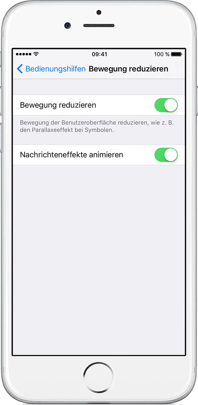 Bildschirmbewegung auf dem iPhone, iPad oder iPod touch reduzieren ...