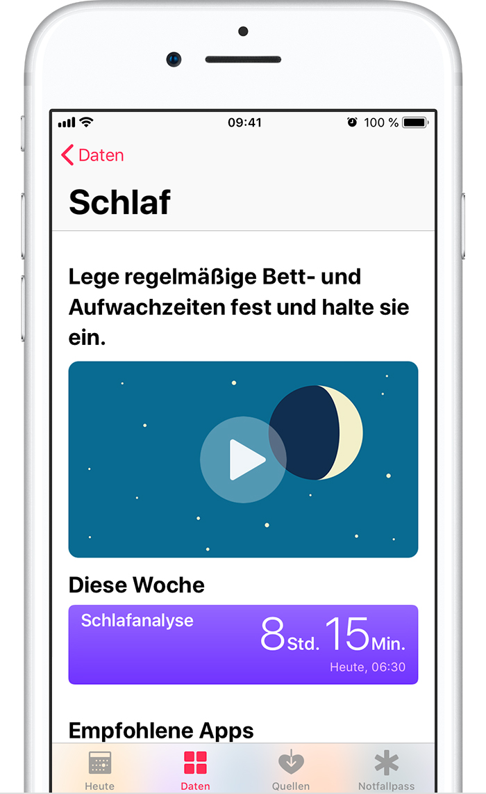 Schlafdaten in der Health-App