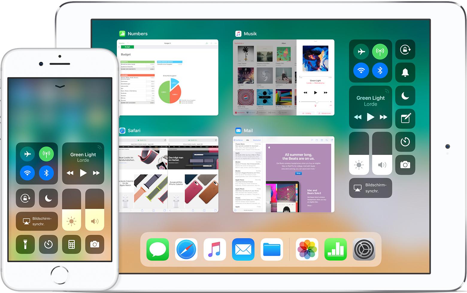 das kontrollzentrum auf dem iphone ipad und ipod touch verwenden und anpassen apple support. Black Bedroom Furniture Sets. Home Design Ideas