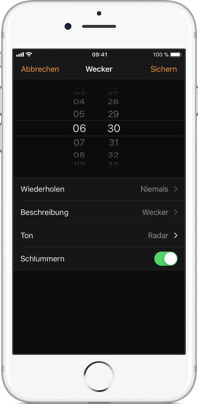 wecker auf dem iphone stellen und verwalten apple support. Black Bedroom Furniture Sets. Home Design Ideas