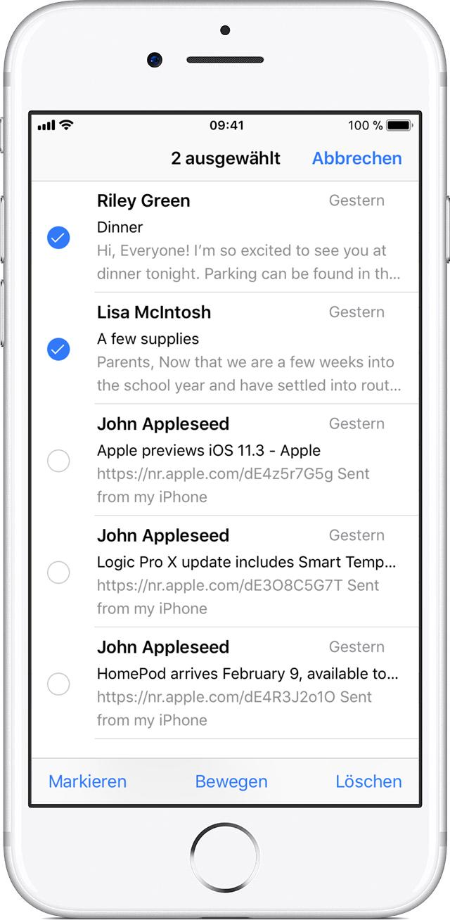 Iphone 6s Mehrere Mails Löschen