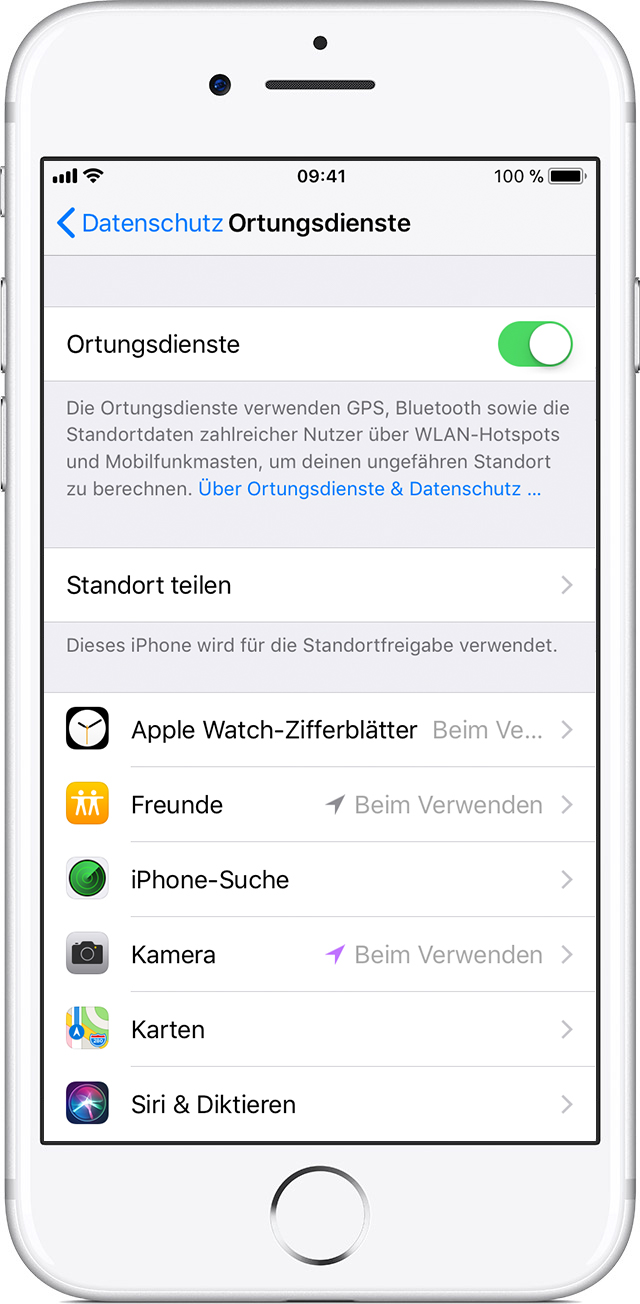 iphone 5 ortung einstellen