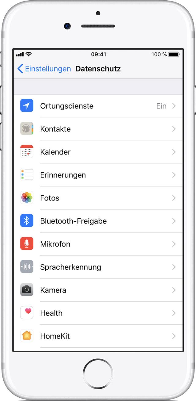 Apps die Nutzung Ihres Standorts erlauben