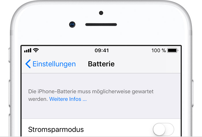Batterieeinstellungen des iPhone
