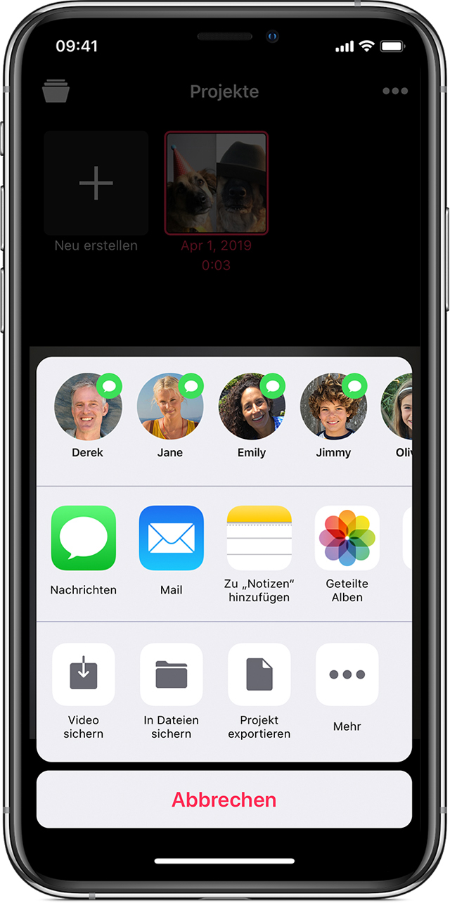 iPhone mit Share-Sheet in der Clips-App
