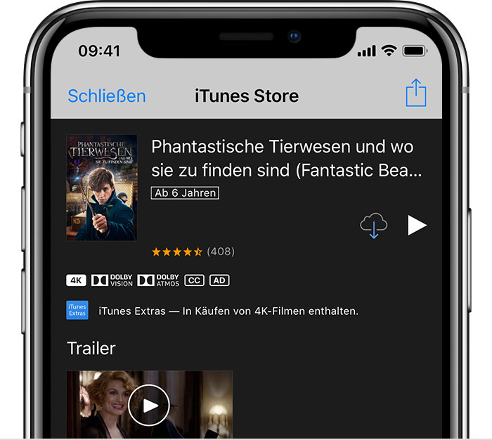 "Ein iPhone mit der Informationsseite zum Film ""Justice League"" im iTunes Store"