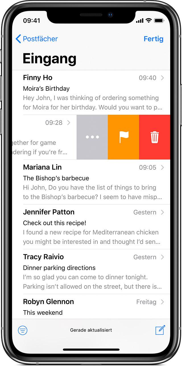 E mail und anhänge löschen iphone