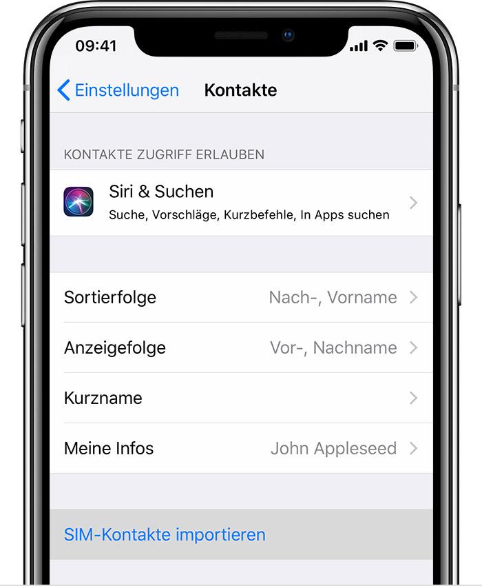 Iphone Sim Karte.Kontakte Von Der Sim Karte Auf Das Iphone Importieren Apple Support