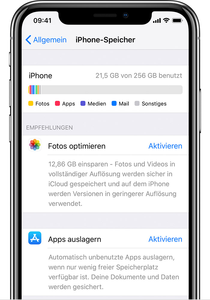 Optimierung des Speicherplatzes unter iOS