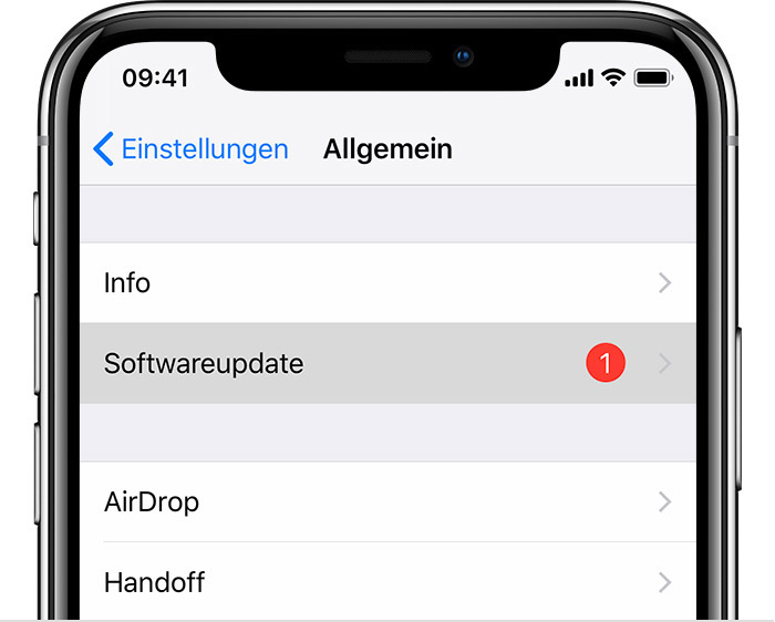 "Bildschirm ""Softwareupdate"""
