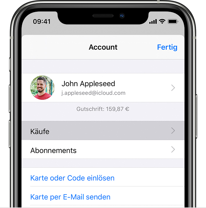 "iPhone mit der Option ""Käufe"" im Menü ""Account""."