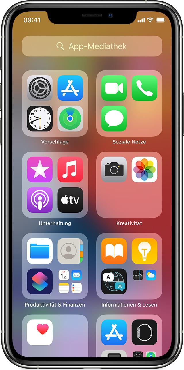 Organisiere den Home Bildschirm und die App Bibliothek auf