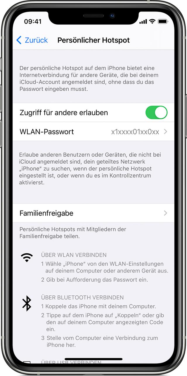 Einen persönlichen Hotspot auf deinem iPhone oder iPad einrichten
