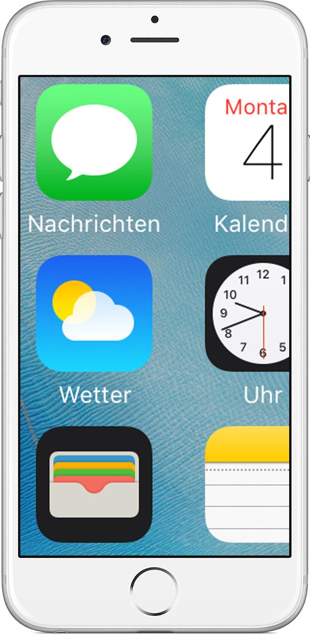 Zu große Darstellung der Home-Bildschirm-Symbole auf dem iPhone ...