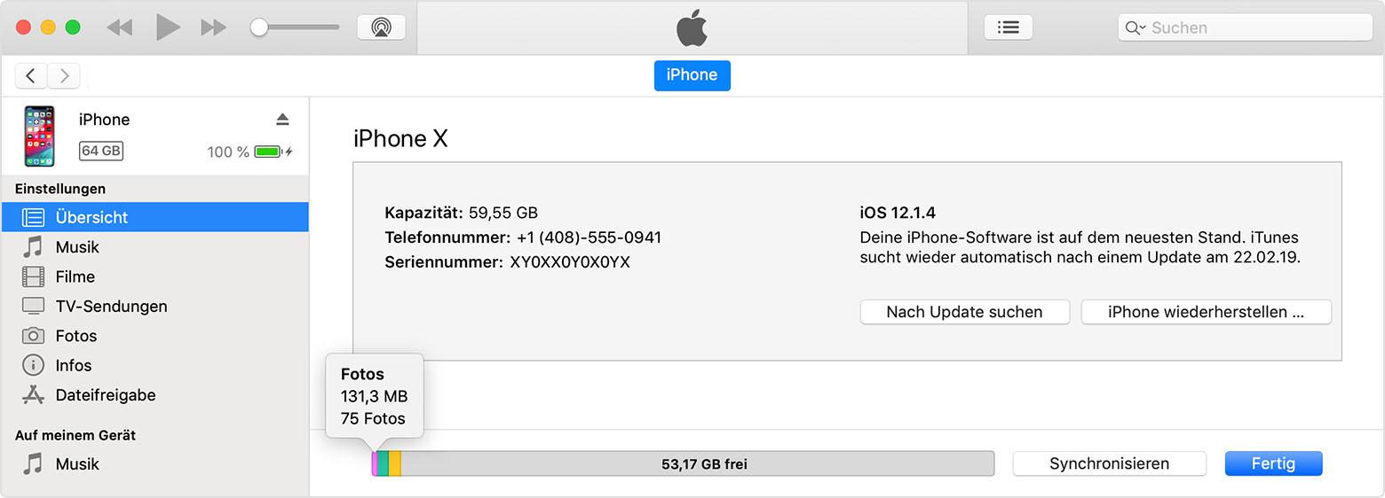 iphone 6 Plus speicher kontrollieren
